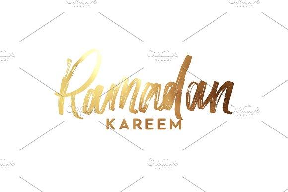 Ramadan Kareem Text Golden Handwritten Calligraphy
