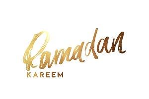 Ramadan Kareem. Text golden handwritten calligraphy.