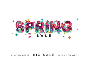Spring sale. Design modern paper cut.