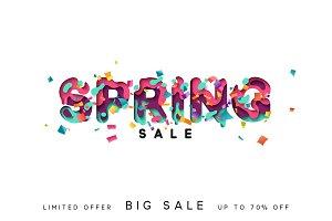 Spring sale. Design modern paper cut.