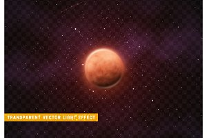 Planet mars on background of space with bright stars