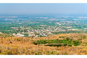 Panorama of Champaner, a historical city in the state of Gujarat, in western India