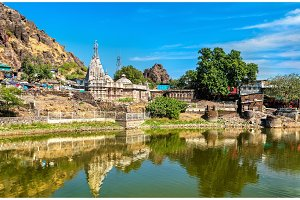 Suparshvanath Old Digamber Temple and Teliya Talav lake at Pavagadh Hill - Gujarat, India