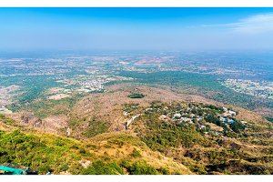 Panorama of Manchi Haveli Village and Champaner historical city from Pavagadh Hill. Gujarat, Western India