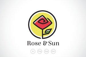 Rose And Sun Logo Template