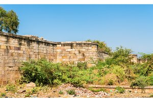 Walls of Champaner Fort - UNESCO heritage site in Gujarat, India