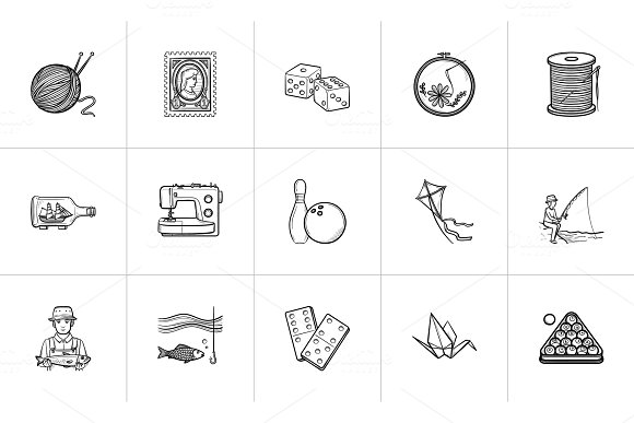 Hobby Hand Drawn Sketch Icon Set