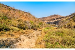 The Waghur River at the Ajanta Caves in a dry season. Maharashtra, India