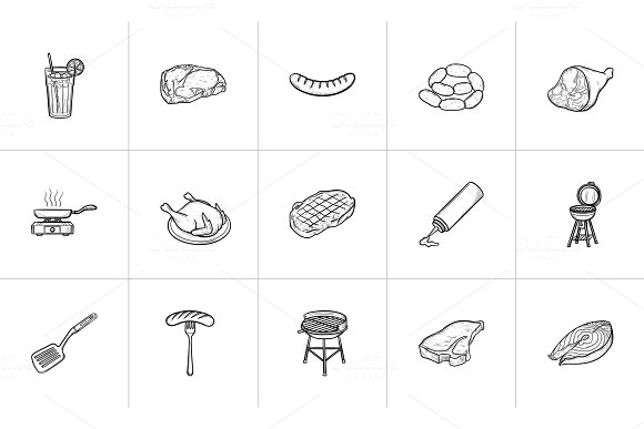 Food And Drink Hand Drawn Sketch Icon Set