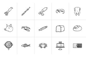 Food hand drawn sketch icon set.