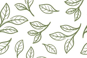 Green tea seamless pattern