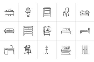 Furniture hand drawn sketch icon set.
