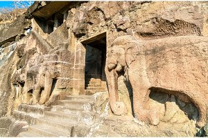 Carved elephants at the entrance of Cave 16, the Ajanta Caves Complex. Maharashta, India