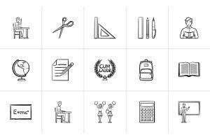Education hand drawn sketch icon set.