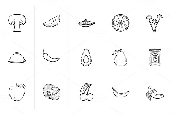 Healthy Food Hand Drawn Sketch Icon Set