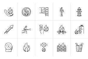 Fire hand drawn sketch icon set.