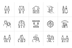 Wedding and family hand drawn sketch icon set.