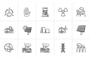 Ecology hand drawn sketch icon set.