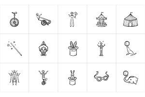 Circus hand drawn sketch icon set.