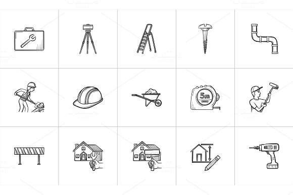 Construction Hand Drawn Sketch Icon Set