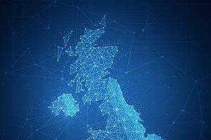 Polygon United kingdom map on blockchain banner.