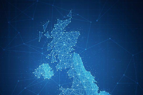 Polygon United kingdom map on block…