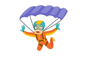 Caucasian white man flying with a parachute.