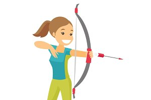 Caucasian white sportswoman holding bow and arrow.