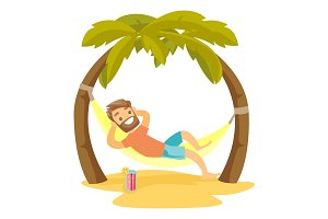 Caucasian white man lying in hammock on the beach.