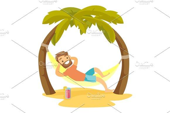 Caucasian White Man Lying In Hammock On The Beach