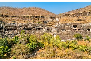 View of the Ajanta Caves. UNESCO world heritage site in Maharashtra, India