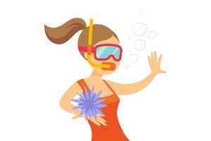 Young caucasian white woman swimming underwater.