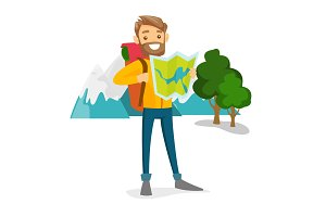 Caucasian traveler with backpack looking at map.