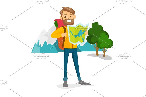 Caucasian Traveler With Backpack Looking At Map