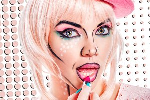 Girl with makeup in style pop art