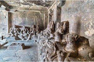 The Kailasa temple, cave 16 in Ellora complex. UNESCO world heritage site in Maharashtra, India