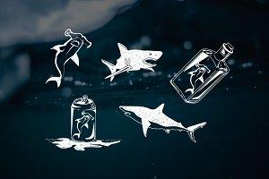 Shark Vectors for Sketch or Illus