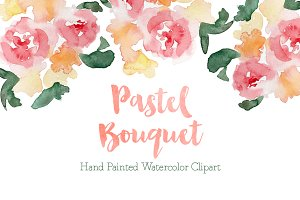 Pastel Watercolor Bouquet Clipart