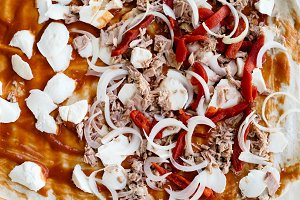 Close up of homemade pizza