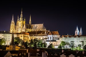 Scenic view of Cathedral of Prague at night