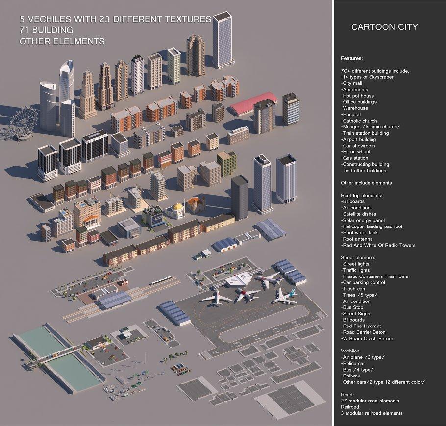 Low poly 3D Cartoon City Modular - Creative Daddy