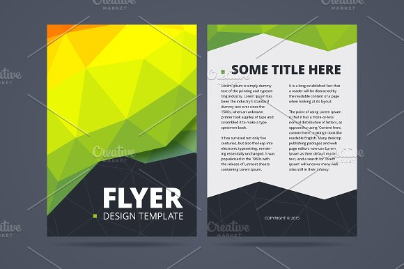 two sided flyer design template illustrations creative market