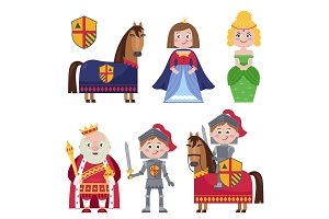 Creative set of medieval characters on white