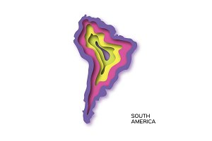 South America Map in paper cut style.