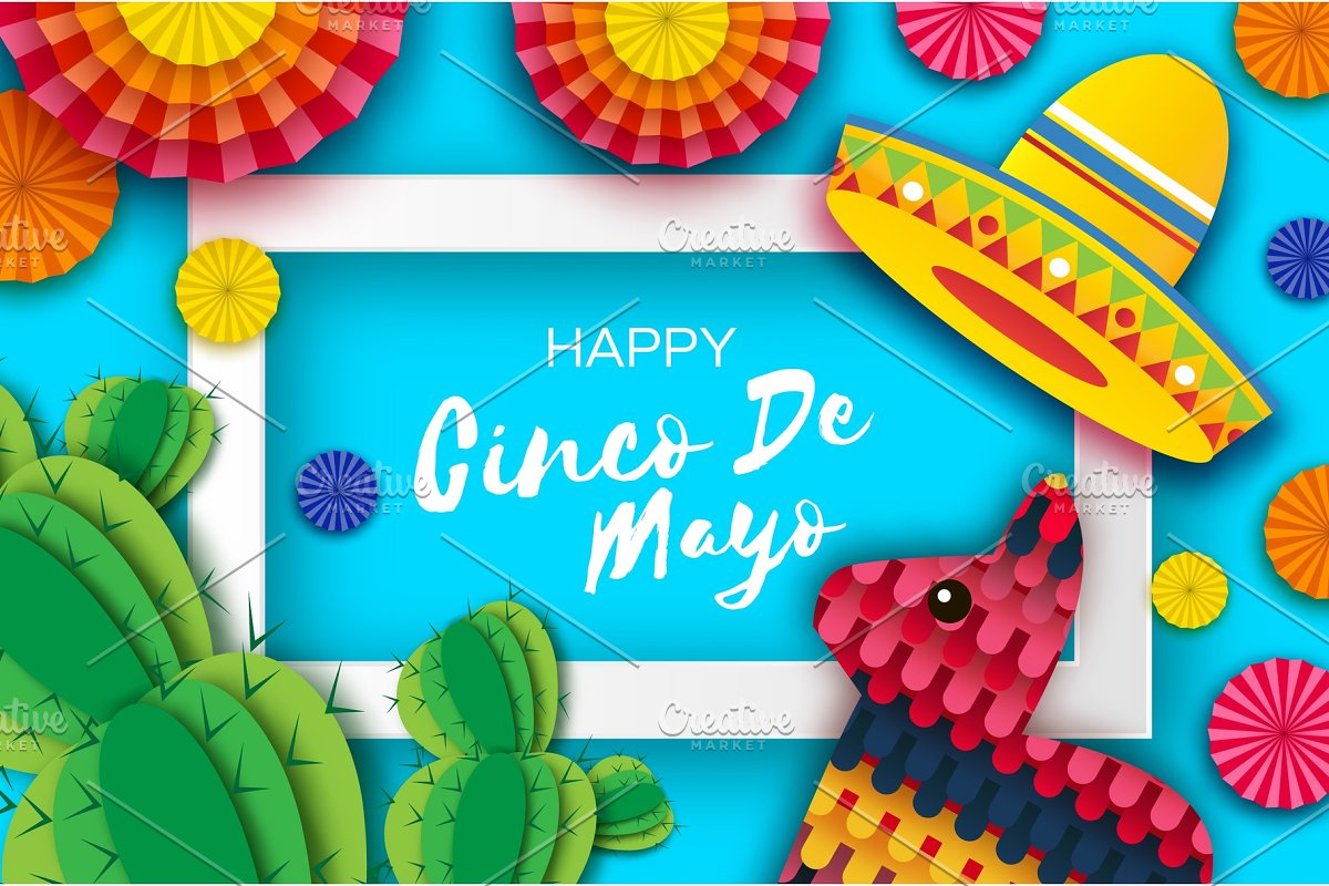 Happy Cinco de Mayo Greeting card. Colorful Paper Fan, Funny Pinata and Cactus in paper cut style. Origami Sombrero hat. Mexico, Carnival. Recangle frame on sky blue. Space for text.