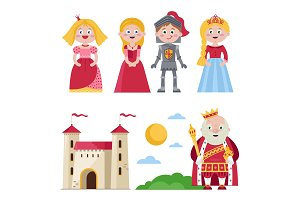 Characters of medieval tales with castle