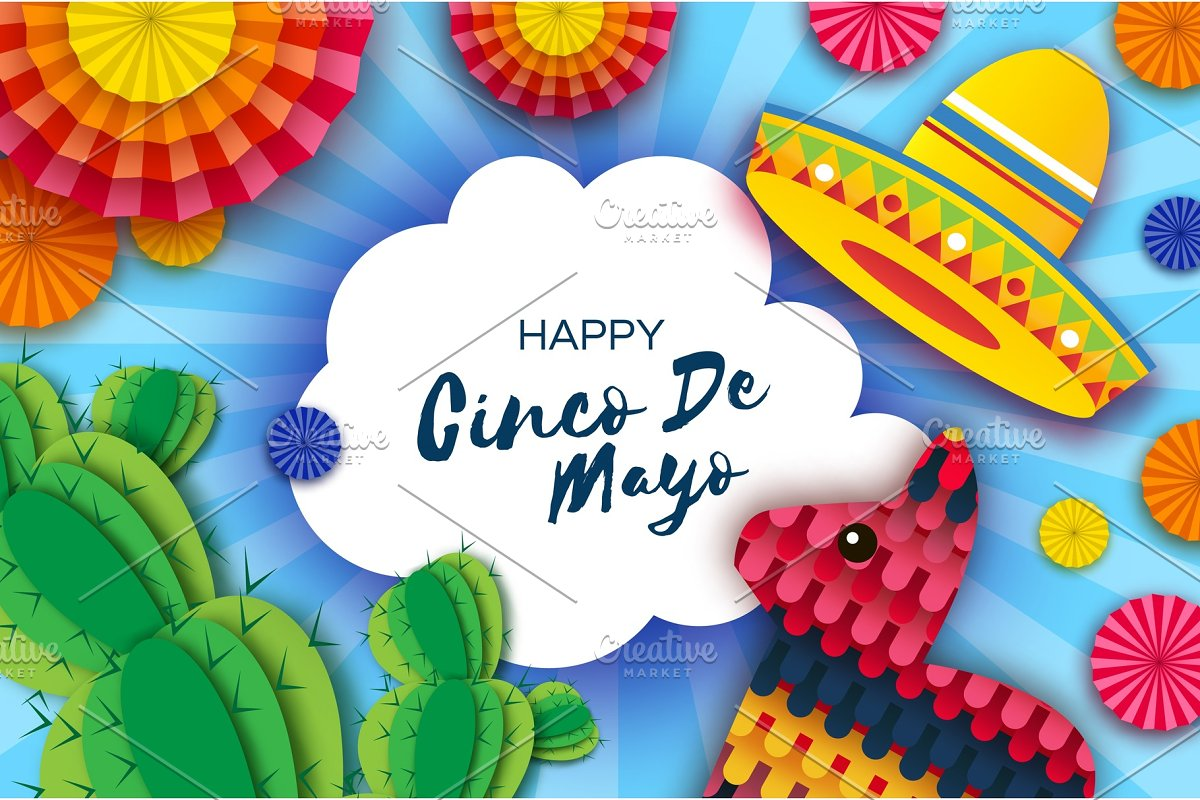 Happy Cinco de Mayo Greeting card. Colorful Paper Fan, Funny Pinata and Cactus in paper cut style. Origami Sombrero hat. Mexico, Carnival. Cloud frame on sky blue. Space for text.