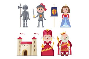 Royal family and chivalry in infographic set