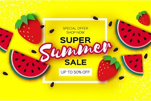 Watermelon and Strawberry Super Summer Sale Banner in paper cut style. Origami juicy ripe watermelon slices. Healthy food on yellow. Square frame for text. Summertime.