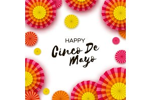 Happy Cinco de Mayo Greeting card. Colorful Paper Fan. Mexico, Carnival. Holidays.